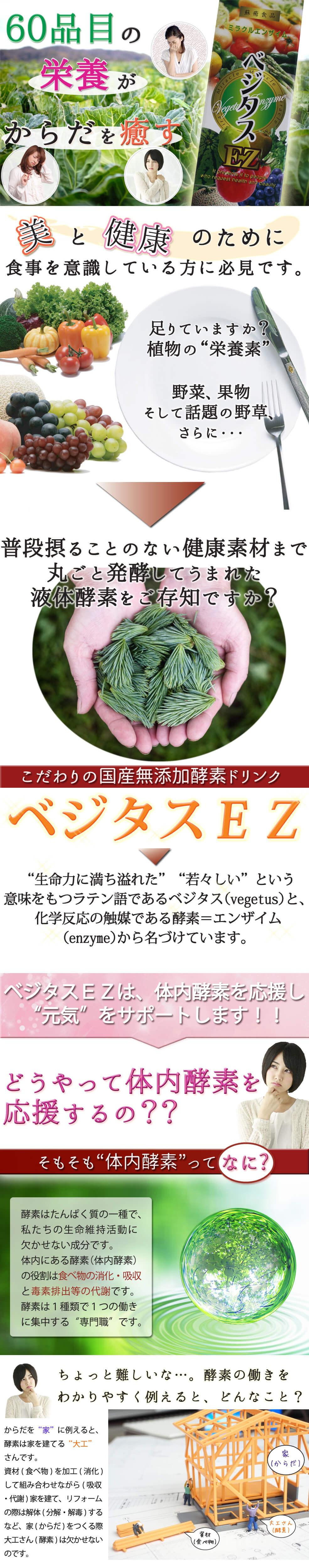 """足りていますか?植物の""""栄養素""""。野菜、果物そして話題の野草、さらに、普段摂ることのない健康素材まで丸ごと発酵してうまれた液体酵素をご存知ですか?それがこだわりの国産無添加酵素ドリンク「ベジタスEZ」。""""生命力に満ち溢れた""""""""若々しい""""という意味をもつラテン語であるベジタス(vegetus)と、化学反応の触媒である酵素=エンザイム(enzyme)から名づけています。体内酵素とは?体内酵素を応援し、健康をサポート、それがベジタスEZです。"""